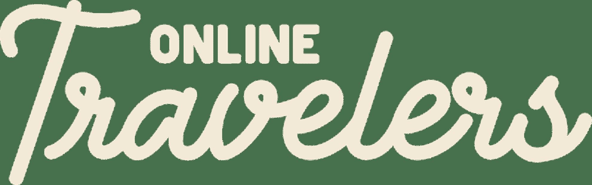 Logo OnlineTravelers Tekst in de kleur crème