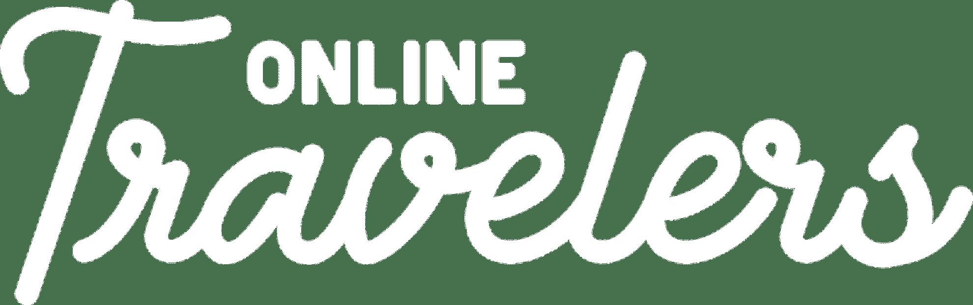 Logo OnlineTravelers Tekst in de kleur wit